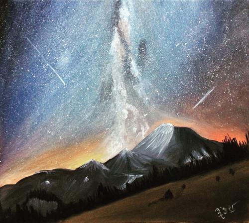 night sky, stars, milky way, galaxy, mountains,Milky Way - Our Home,ART_1798_15737,Artist : Ankush Bhayekar,Oil