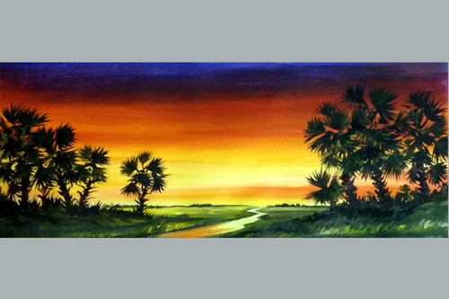 village,bengal,acrylic landscape,painting,canvas,rural,Sunset Village with Palm Trees ,ART_1232_15710,Artist : SAMIRAN SARKAR,Acrylic