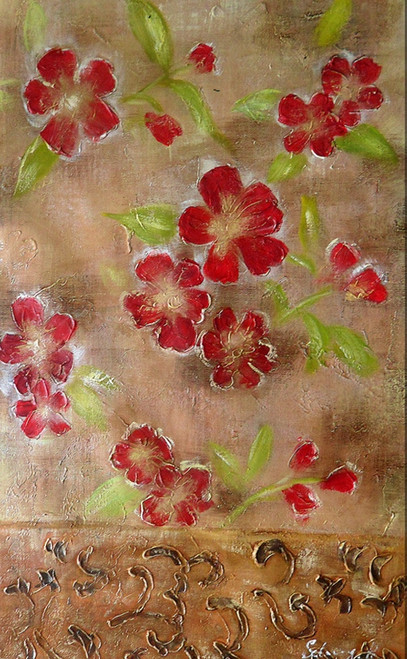red flower paintings,floral paintings,56Flower20,MTO_1550_15778,Artist : Community Artists Group,Mixed Media