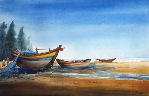 fishing boat,watercolor,landscape,painting,paper,,Fishing Boats,ART_1232_15759,Artist : SAMIRAN SARKAR,Water Colors