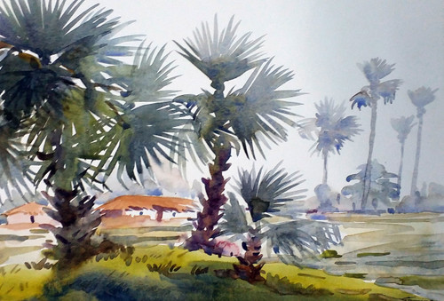 village,bengal,watercolor landscape,painting,paper,rural,Beauty of Bengal Village,ART_1232_15747,Artist : SAMIRAN SARKAR,Water Colors