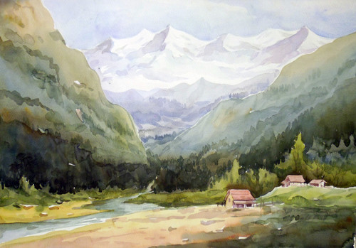 watercolor,landscape,mountain,Himalaya,paper,Himalaya Mountain Landscape,ART_1232_15746,Artist : SAMIRAN SARKAR,Water Colors
