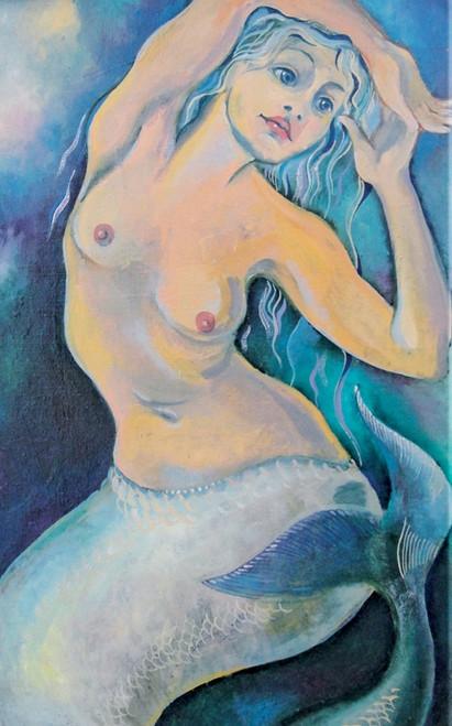 mermaid paintings,nude lady paintings,naked paintings,56Figure233,MTO_1550_15745,Artist : Community Artists Group,Mixed Media