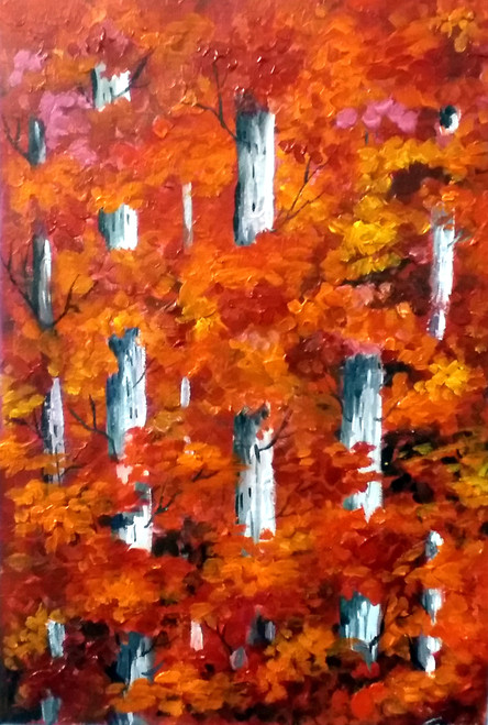 autumn,forest,acrylic,painting,canvas,nature,acrylic canvas,painting,Autumn Forest,ART_1232_15739,Artist : SAMIRAN SARKAR,Acrylic