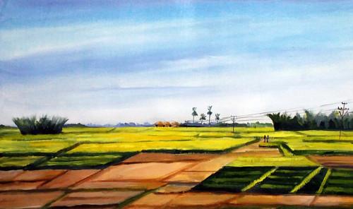 rural,landscape,acrylic,painting,canvas,village,nature,corn,corn field,,Rural Cornfield ,ART_1232_15723,Artist : SAMIRAN SARKAR,Acrylic