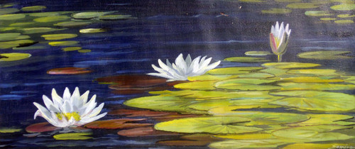 pond,acrylic,painting,canvas,flower,floral,lotus,White Lotus on Pond,ART_1232_15722,Artist : SAMIRAN SARKAR,Acrylic