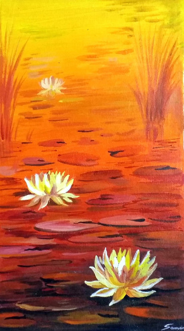 floral,f,Beauty of Sunset Pond & Lotus,ART_1232_15720,Artist : SAMIRAN SARKAR,Acrylic