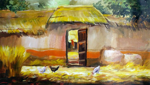 villege,door,bengal,landscape,hut,cottage,Bengal,harvest,,Village Door at Harvest Time,ART_1232_15713,Artist : SAMIRAN SARKAR,Acrylic