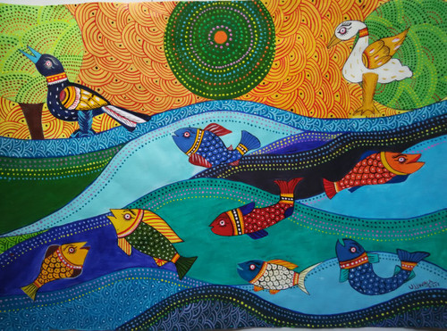 ,Tribal art series-Fish,ART_1243_15699,Artist : Ujwala Chavan,Acrylic