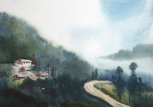 watercolor , himlaya,mountain,monestry,landscape,nature,Mystery Himalaya,ART_1232_15798,Artist : SAMIRAN SARKAR,Water Colors