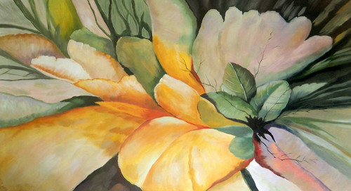 beautiful flower  paintings,floral paintings,56Flower22,MTO_1550_15791,Artist : Community Artists Group,Mixed Media
