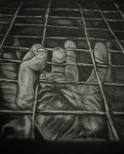 Hand, finger, charcoal, grip, black and white, dark, escape,Escape,ART_1898_15789,Artist : Ravish Choudhary,Charcoal