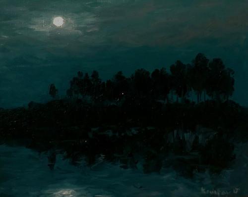 night,moon,moonlight,evening,Moonlight Sonata,ART_1677_15792,Artist : Kaustav Mukherjee,Oil