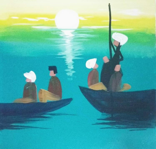 ,Ride of Ocean with powerful leader,ART_1700_14096,Artist : Kraftsland India Corp,Acrylic