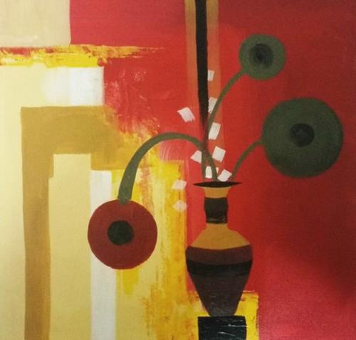 ,A Vase of Flowers,ART_1700_14093,Artist : Kraftsland India Corp,Acrylic