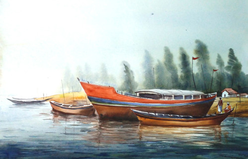 boat,watercolor,painting,landscape,sea,river,village,rural,Boats,ART_1232_15805,Artist : SAMIRAN SARKAR,Water Colors