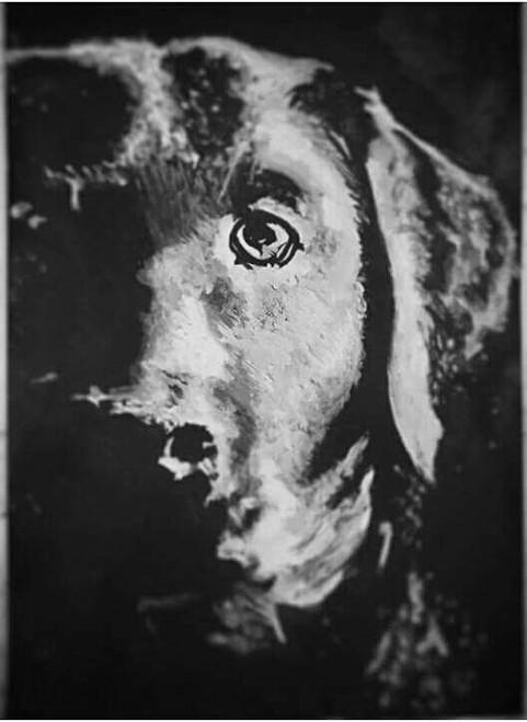 Black and white, dog, paper. ,Dog,ART_1898_15856,Artist : Ravish Choudhary,Poster Colors