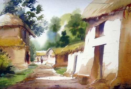 village,bengal,watercolor landscape,painting,paper,rural,hut,Beauty of Bengal Village,ART_1232_15827,Artist : SAMIRAN SARKAR,Water Colors
