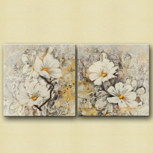 WhiteBloomPair - 48in X 24in,28GRP80_4824,White, Light Shades,120X60 Size,Multi Panel Art Canvas Painting