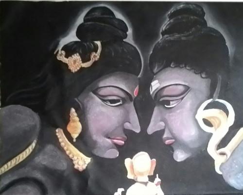 Shiva, Parvati, Ganesha, Oil painting, Portraits,LORD SHIVA AND MAA PARVATI WITH GANESHA,ART_1455_11985,Artist : SNEHA SNEHA,Oil