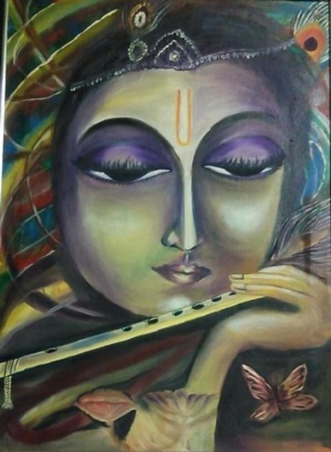 krishna,Krishna with flute,ART_1454_11948,Artist : Sudha  Sharma,Oil