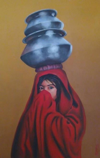 village girls,afghan painting,20wx30h A village girl,ART_889_5221,Artist : Harpreet Kaur,acrylic on canvas