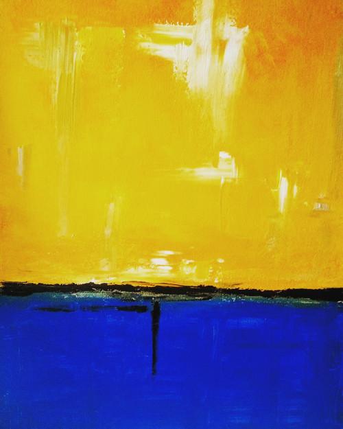 blue,yellow,sunset,lake,The Sunset,ART_571_13663,Artist : Madhavi Sandur,Acrylic