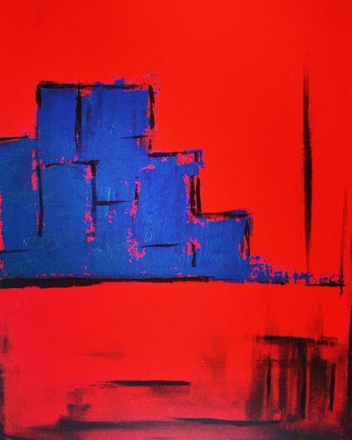 blue,red,abstract,city,Blue City,ART_571_13662,Artist : Madhavi Sandur,Acrylic