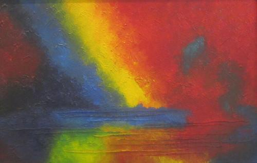 landscape, colorful, abstract, shades, multi-color, painting, texture,COLORFUL LANDSCAPE,ART_1948_16015,Artist : Rajwant Kaur,Acrylic