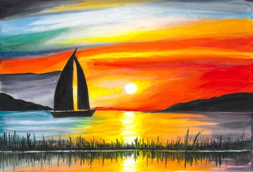 NATURE, LOVE, COLORFUL, OCEAN, SUNSET, DUSK,DUSK IN THE OCEAN,ART_1926_15989,Artist : Renuka Bhandarkar,Acrylic