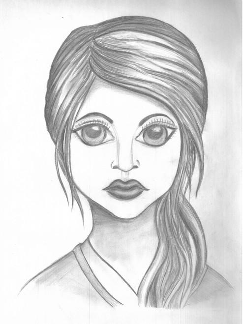 EYES, LOVE, BEAUTIFUL, GIRL, SKETCH, PENCIL,BEAUTIFUL EYES,ART_1926_15988,Artist : Renuka Bhandarkar,Pencil