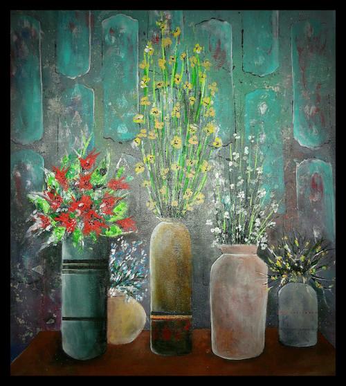 artistic wall, flowers,still life,ART_1415_13597,Artist : Priyanka Doiphode,Acrylic