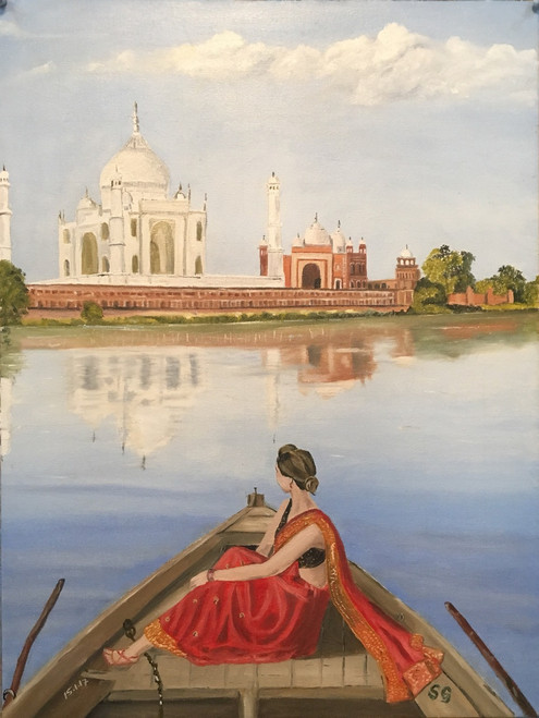 Taj Mahal, Lady, Woman,Taj Mahal,ART_168_16057,Artist : Subhash Gijare,Oil
