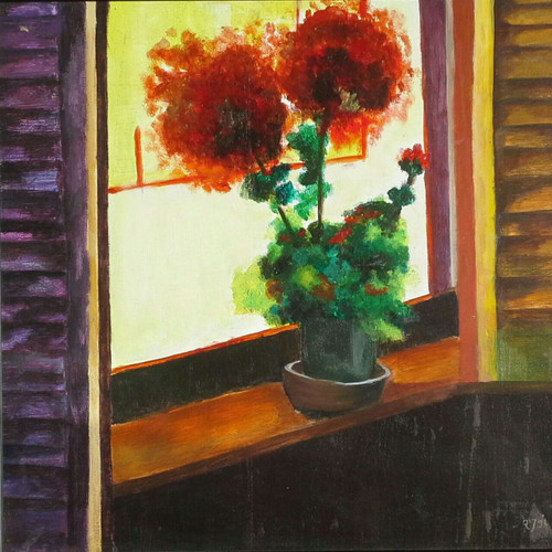 window, still life, colorful, painting, flower,Still life,ART_1948_16162,Artist : Rajwant Kaur,Acrylic