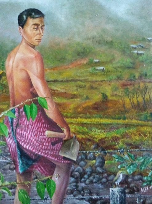 Monsoon in Manipur,After Rain- in a field,ART_479_11347,Artist : LOSO A PAO,Oil