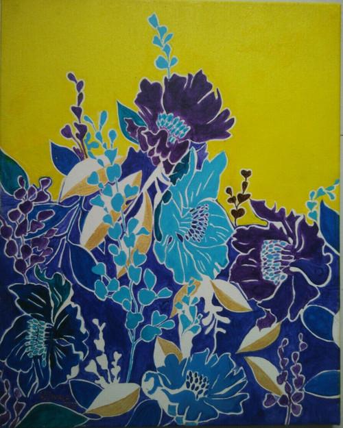 blue flowers, floral, nature, tree, blue, violet, mauve shades,Blue Flowers,ART_1243_10947,Artist : Ujwala Chavan,Acrylic
