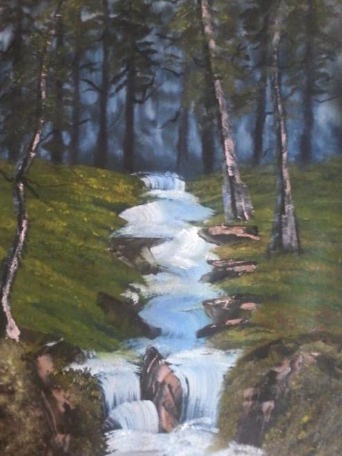 waterfall, forest, evening, nature,evening waterfall,ART_1846_16198,Artist : Nimmi Nanavati,Oil