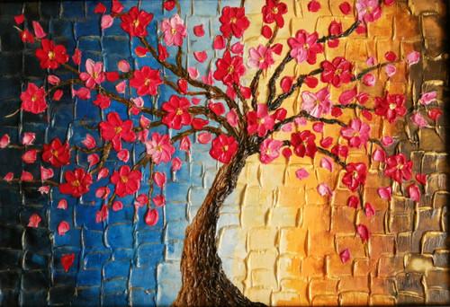 Abstract, floral, colorful, tree,Autumn Flowers,ART_1846_14958,Artist : Nimmi Nanavati,Mixed Media