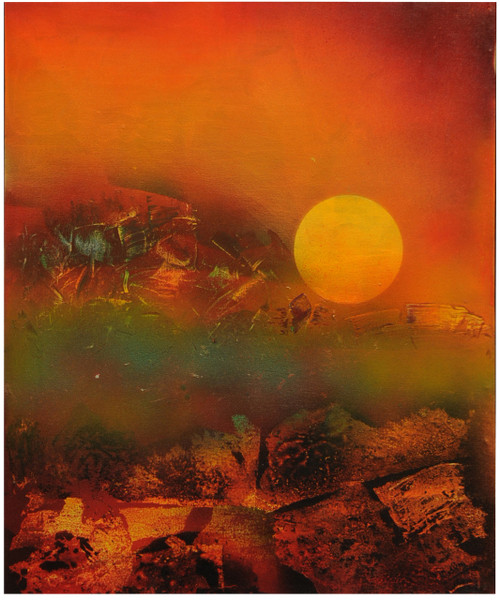 sun, rock, mountains,abstract,landscape,abstract painting,ART_1769_14727,Artist : Kusum Parmar,Acrylic