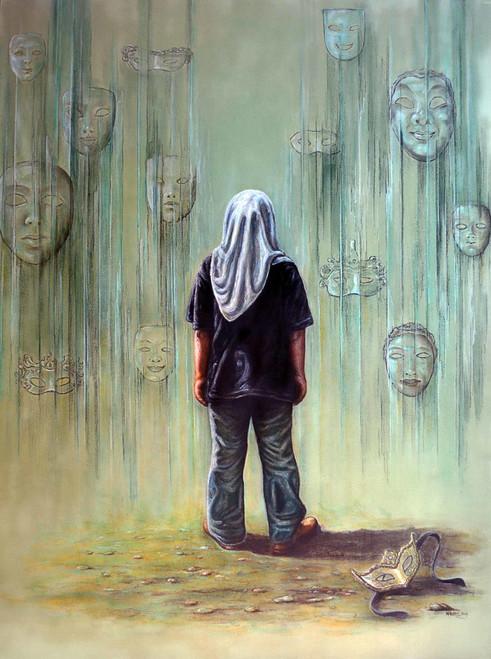 indonesia, fine art, childrens, world, people,Introspection,ART_1976_16216,Artist : Afriani Afriani,Mixed Media