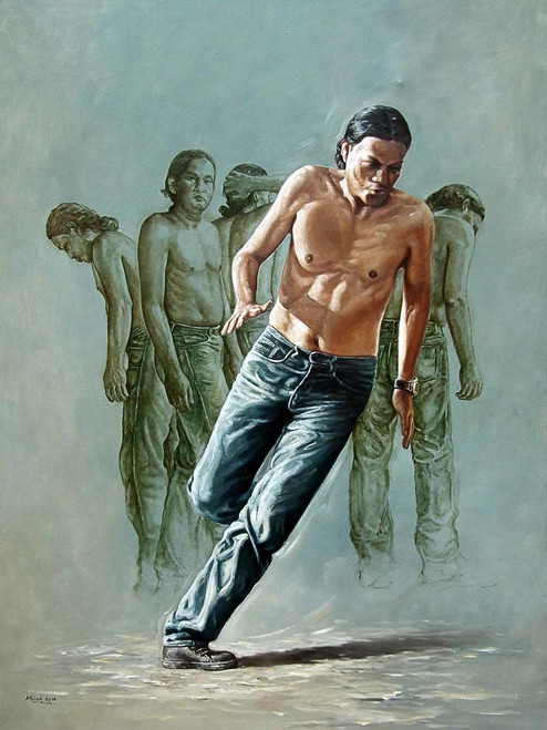 indonesia, fine art, childrens, world,Born to Move,ART_1976_16214,Artist : Afriani Afriani,Oil