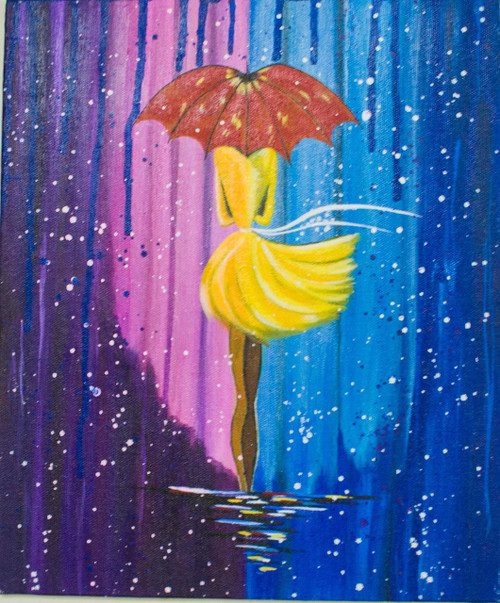 ,City Girl in the rain,ART_1989_16236,Artist : Leepsa Jena,Acrylic