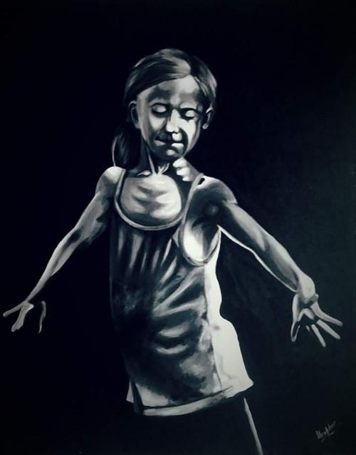 black and white,photorealistic,girl,dance,Speachless emotions,ART_889_16232,Artist : Harpreet Kaur,Acrylic