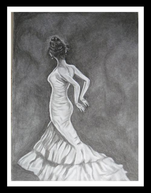 Girl,Dancing Lady,ART_1385_11687,Artist : Chitra Ariram,Charcoal