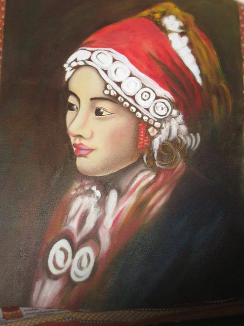 Portrait,Mountain Girl,ART_1385_11681,Artist : Chitra Ariram,Oil