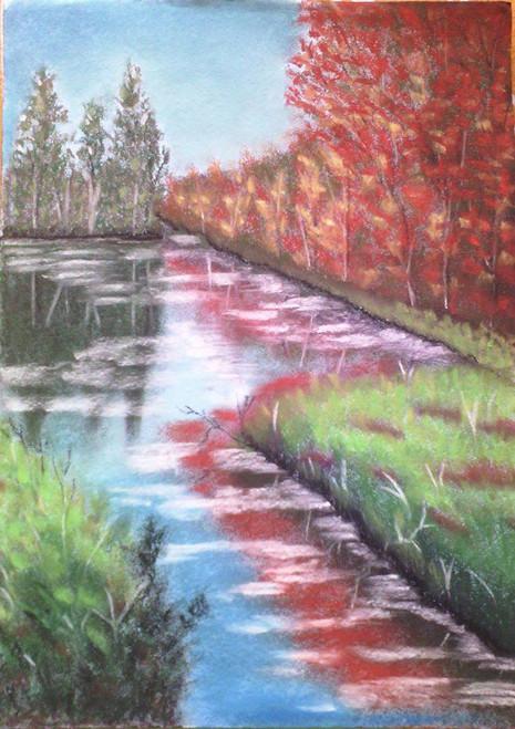Landscape,Reflection,ART_1385_11680,Artist : Chitra Ariram,Pastels