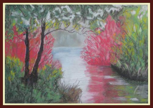 Landscape,Back Waters,ART_1385_11678,Artist : Chitra Ariram,Pastels