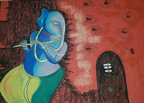 Ganesha,Ganesha5,ART_1385_11676,Artist : Chitra Ariram,Pastels