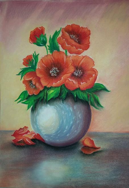 Floral,Flowers on Silver Pot,ART_1385_11670,Artist : Chitra Ariram,Pastels
