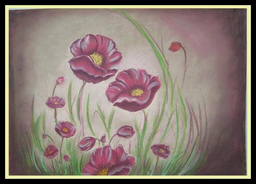 Floral,Purple Flowers,ART_1385_11634,Artist : Chitra Ariram,Pastels